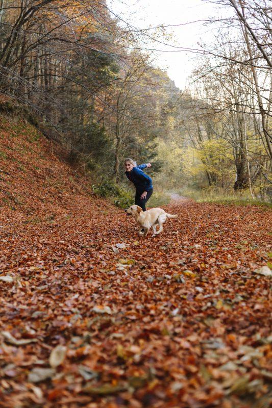 perro y dueña entrenando con pelota